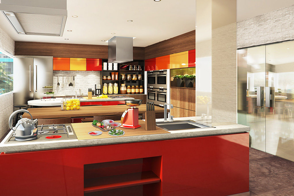 show kitchen at residences at commonwealth by century