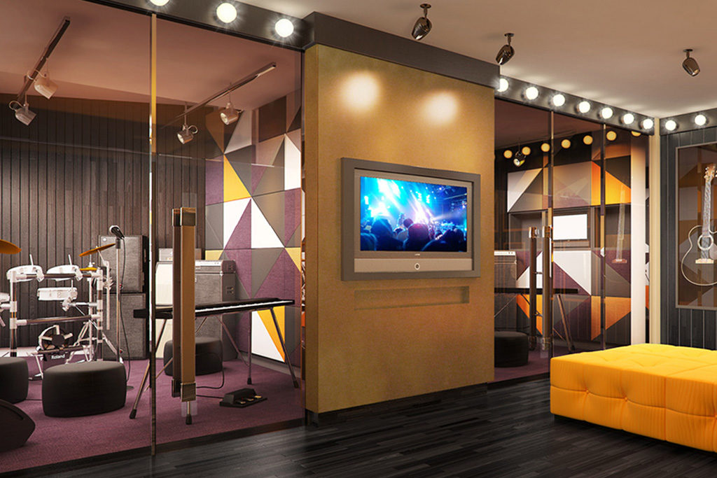 screening room at residences at commonwealth by century