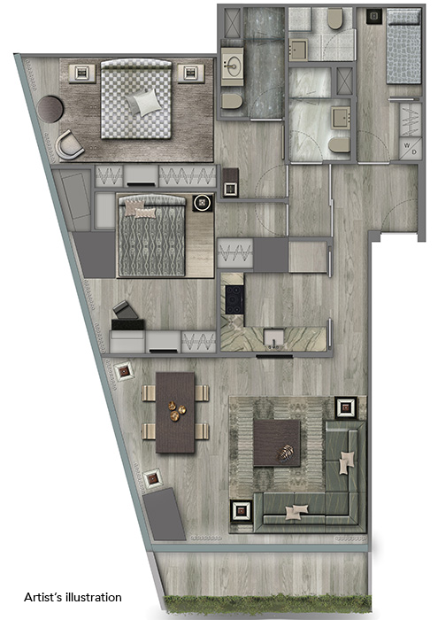 2 bedroom floor plan at century spire