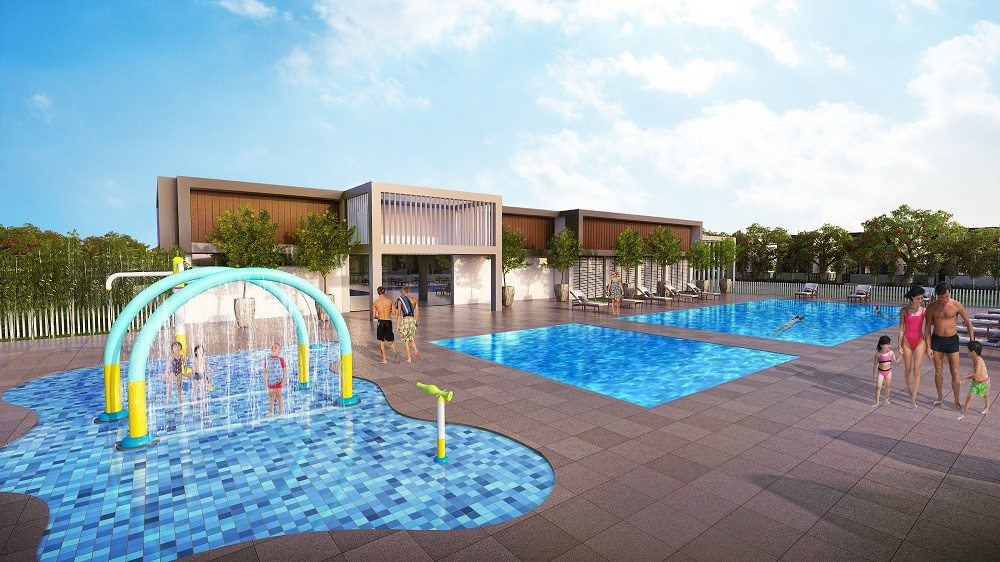 Artist's rendition of the children's water play area and swimming pool
