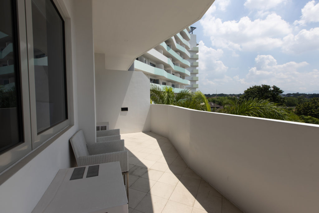 condo unit balcony at the residences at commonwealth by century